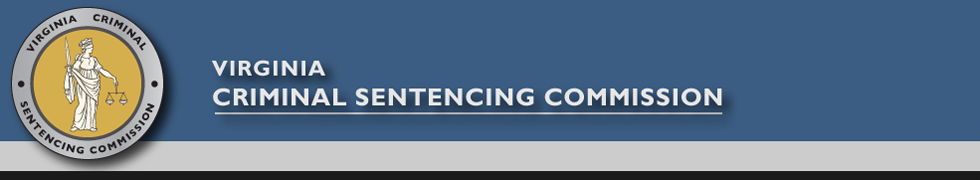 VCSC header, Virginia Criminal Sentencing Commission, round logo with image of lady justice